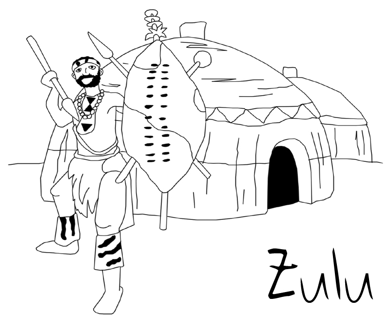 zulu dancer coloring pages - photo#5